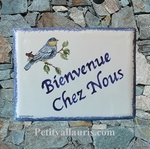 PLAQUE DE MAISON EMAILLEE CERAMIQUE DECOR MESANGE BLEUE