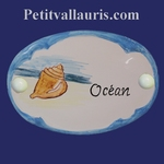 CERAMIC OVAL DOOR PLAQUE WITH SHELL DECOR WITH BLUE BORDER