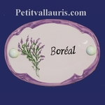 CERAMIC OVAL DOOR PLAQUE WITH HEATHER DECOR WITH PARM BORDER