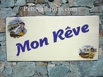 PLAQUE DE MAISON EMAILLEE RECTANGLE DECOR PECHEUR 14 X 28CM