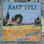 PLAQUE DE VILLA FAIENCE DECOR CHAMPS TOURNESOLS ET BASTIDE