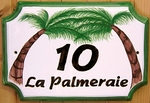 HOUSE PLAQUE STYLE SMALL MODEL PALM TREES PAINT BROWN TEXT