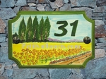HOUSE PLAQUE STYLE SMALL MODEL DECORATION SUNFLOWER'S FIELD