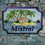 HOUSE PLAQUE STYLE SMALL WITH MODEL ILOT AND PALM TREE PAINT