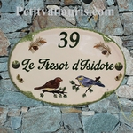 HOUSE CERAMIC PLAQUE OVAL MODEL LITTLE BIRD AND PINE-TREE