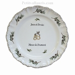 FAIENCE MARRIAGE STYLE PLATE MODEL OLIVE BRANCH DECORATION