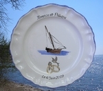 CERAMIC MARRIAGE STYLE PLATE MODEL SAILBOAT DECORATION