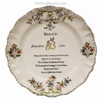 MARRIAGE PLATE LOUIS XV MODEL WITH POEM FIFTY YEAR WEDDING