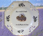 ASSIETTE OCTOGONALE DECOR PROVENCE INSCRIPTION PERSONNALISEE