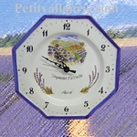 FAIENCE OCTAGONAL WALL CLOCK LAVENDERS FIELD DECO WITH TEXT