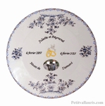 BIRTHDAY MARRIAGE PLATE PORCELAIN BLUE MODEL+PHOTO & COLOMBE