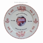 BIRTHDAY MARRIAGE PLATE PORCELAIN PINK MODEL + PHOTO INSIDE