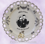 FAIENCE MARRIAGE PLATE SUNFLOWER MODEL WITH PHOTO INSIDE