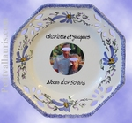 OCTAGONAL PLATE SMALL SIZE BLUE FLOWER COLOR WITH PHOTOGRAPH