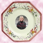 OCTAGONAL PLATE SMALL SIZE PINK FLOWER COLOR WITH PHOTOGRAPH