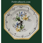 FAIENCE OCTAGONAL WALL CLOCK GREEN, BLUE AND YELLOW FLOWERS