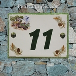 HOUSE ADDRESS PLAQUE WITH SEA-SIDE AND PINE-TREE BRANCH DECO