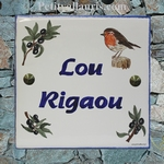 PLAQUE DE VILLA FAIENCE DECOR ROUGE GORGE ( LOU RIGAOU )
