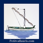 FISH BOAT WITH MAT DECOR ON TILE 20 X 20 CM