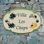 HOUSE CERAMIC PLAQUE FOR NAME OVAL MODEL WITH LADYBIRD DECOR