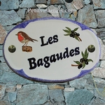 HOUSE CERAMIC PLAQUE FOR NAME OVAL MODEL WITH LITTLE BIRD