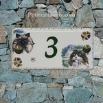 PLAQUE DE MAISON FAIENCE RECTANGLE DECOR 2 CHATS (4 ET5)