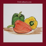 PEPPERS DECORATION ON EARTENWARE TILE