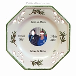 CUSTOMIZED OCTAGONAL PLATE SMALL SIZE WITH PHOTO OLIVE DECOR