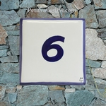 NUMBER ADRESS PLAQUE BORDER AND TEXT BLUE HORIZONTAL MODEL
