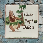 PLAQUE CERAMIQUE DE MAISON CARREE DECOR L'OURS BRUN