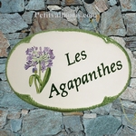 HOUSE CERAMIC PLAQUE FOR NAME OVAL MODEL AGAPANTHUS FLOWERS