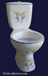 TOILET-WC BLUE AND YELLOW FLOWERS DECORATION
