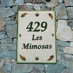 CERAMIC HOUSE PLAQUE MIMOSAS BRANCH DECOR GREEN BORDER