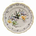 FAIENCE  WALL CLOCK WITH GREEN,BLUE,YELLOW FLOWERS DECOR