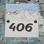 CERAMIC PLATE HOUSE ADDRESS PLAQUE WITH ALPES MOUNTAINS