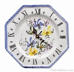 FAIENCE OCTAGONAL WALL CLOCK BLUE,GREEN AND YELLOW FLOWERS