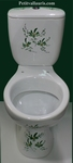 CERAMIC TOILET-WC HAND MADE GREEN FLOWERS DECORATION