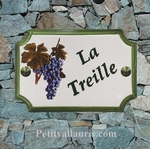 PLAQUE DE MAISON FAIENCE MODELE STYLE DECOR GRAPPE DE RAISIN