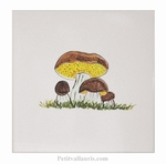 DECOR SUR CARRELAGE MURAL EN FAIENCE MOTIF CHAMPIGNON CEPES