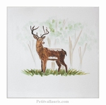 DECOR SUR CARRELAGE MURAL MOTIF ANIMAL DE LA FORET LE CERF