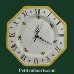 HORLOGE OCTOGONALE EN FAIENCE MURALE DECOR CITRONS