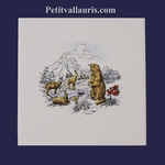 EARTHENWARE TIL WITH CHAMOIS + MARMOTS IN MOUNTAIN LANDSCAPE
