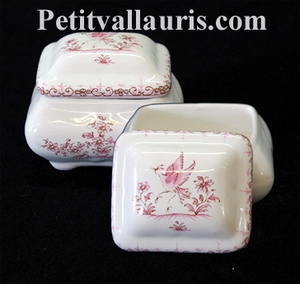 BOITE A BIJOUX RECTANGLE DECOR TRADITION VIEUX MOUSTIER ROSE
