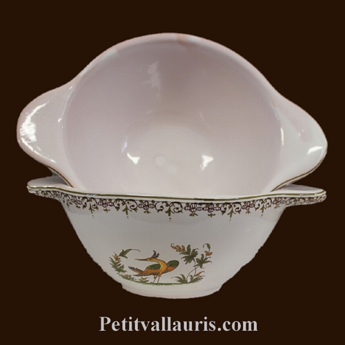 BOWL WITH HANDLES OLD MOUSTIERS TRADITION DECORATION