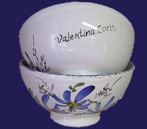 SIMPLE BOWL MODEL BLUE FLOWERS DECORATION