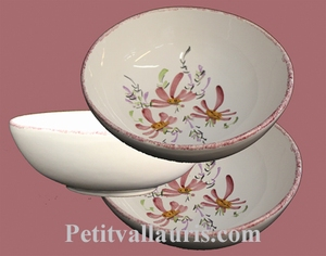 SOUP OR SALAD PLATE PINK FLOWER PAINT DECORATION