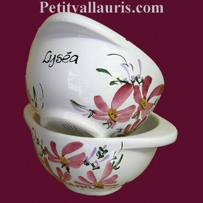 BOWL WITH HANDLES PINK FLOWERS DECORATION