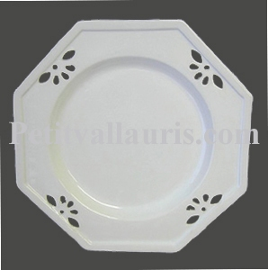 ASSIETTE OCTOGONALE AJOUREE GRAND MODELE EMAILLEE BLANCHE