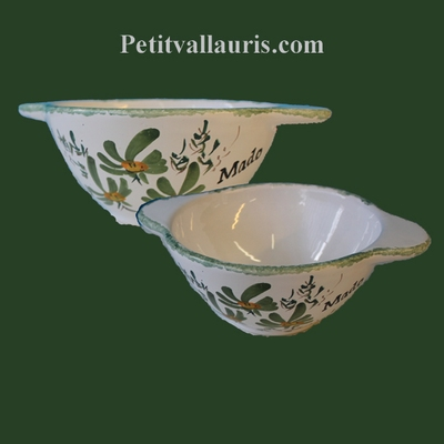 BOWL WITH HANDLES GREEN FLOWERS DECORATION