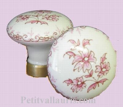 PORCELAIN CONSOLE BUTTON D50 OLD PINK MOUSTIERS DECORATION